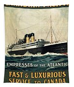 Empress Of The Atlantic - Canadian Pacific - Steamship - Retro Travel Poster - Vintage Poster Tapestry