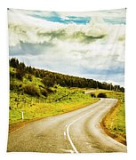 Empty Asphalt Road In Countryside Tapestry