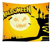 Enchanted Castle Over The Zombies Cemetery In Halloween Night Tapestry