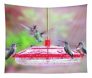 Encounter At The Feeder Tapestry
