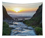 End Of The Road - Creek Runs Into Pacific Ocean At Big Sur Tapestry