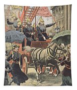 English Suffragettes Dressed As Firemen Tapestry