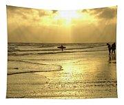 Enjoying The Beach At Sunset Tapestry