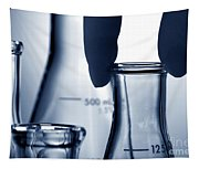 Erlenmeyer Flasks In Science Research Lab Tapestry
