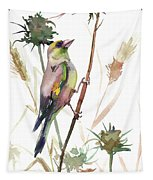 European Goldfinch In The Field Tapestry