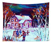 Evening  Game At The Chalet Tapestry