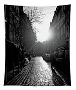 Evening Walk In Paris Bw Tapestry