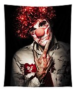 Evil Blood Stained Clown Contemplating Homicide Tapestry