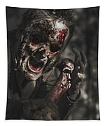 Evil Male Zombie Screaming Out In Bloody Fear Tapestry