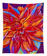 Exciting Red Dahlia Tapestry