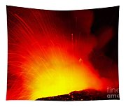 Exploding Lava At Night Tapestry