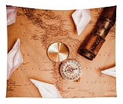 Explorer Desk With Compass, Map And Spyglass Tapestry