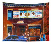 Fairmount Bagel With Blue Car  Tapestry