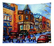 Fairmount Bagel With Hockey Game Tapestry