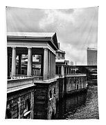 Fairmount Water Works In Black And White Tapestry