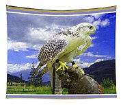 Falcon Being Trained H A With Decorative Ornate Printed Frame. Tapestry