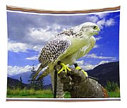 Falcon Being Trained H B With Decorative Ornate Printed Frame. Tapestry