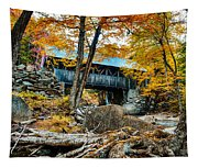 Fall Colors Over The Flume Gorge Covered Bridge Tapestry