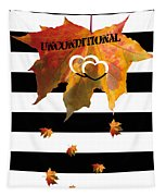 Fall Leaf Love Typography On Black And White Stripes Tapestry