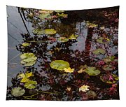 Fall Pond Reflections - A Story Of Waterlilies And Japanese Maple Trees - Take One Tapestry