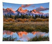 Fall Teton Tip Reflections Tapestry