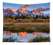 Fall Teton Tip Reflections Tapestry