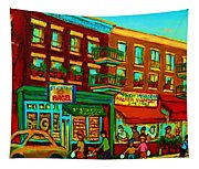 Family Frolic On St.viateur Street Tapestry