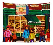 Family  Fun At St. Viateur Bagel Tapestry