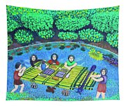 Family Picnic In Palau Tapestry