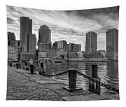 Fan Pier Boston Harbor Bw Tapestry