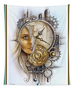 Fantasy Art - Time Encaptulata For A Woman's Face, Clock, Gears And More. L A S With Ornate Frame. Tapestry