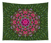 Fantasy Floral Wreath In The Green Summer  Leaves Tapestry