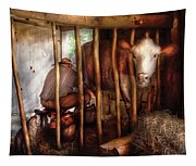 Farm - Cow - Milking Mabel Tapestry