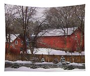 Farm - Barn - Winter In The Country  Tapestry