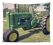 Farm Green Tractor Vintage Style Tapestry