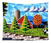Farm With Three Pines And Cow Tapestry