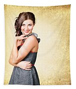 Fashionable Girl In Classic 50s Style Clothing Tapestry