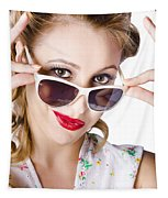 Fashionable Woman In Sun Shades Tapestry