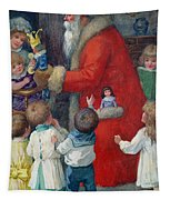 Father Christmas With Children Tapestry