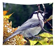 Feast For A Chickadee Tapestry