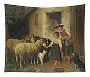 Feeding The Sheep Tapestry