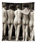 Female Nude Quintet Tapestry
