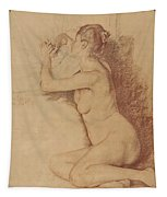 Female Nude With Folded Hands Tapestry
