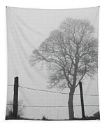 Fence And Fog Tapestry