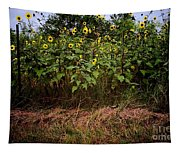 Fence Line Sunflowers Tapestry