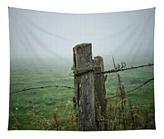 Fence Post And Fog Tapestry