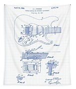 Fender Guitar Patent Drawing Tapestry