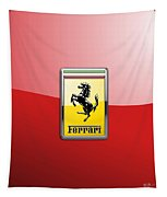 Ferrari 3d Badge-hood Ornament On Red Tapestry