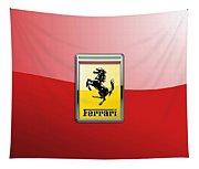 Ferrari 3d Badge-hood Ornament On Red Tapestry