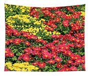Field Of Red And Yellow Flowers Tapestry